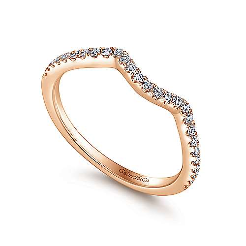 14k Pink Gold Contemporary Curved Wedding Band angle 3