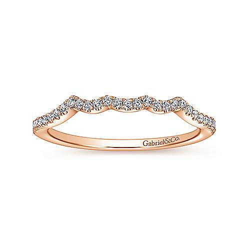 14k Pink Gold Contemporary Curved Wedding Band angle 5