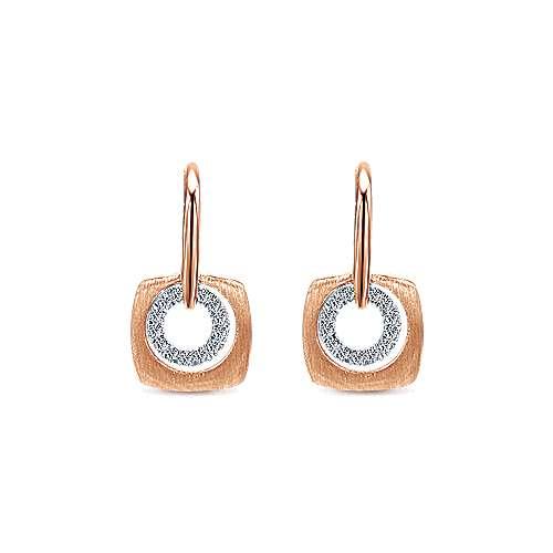 Gabriel - 14k Pink Gold Contemporary Drop Earrings