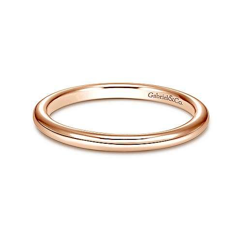Gabriel - 14k Pink Gold Contemporary Straight Wedding Band