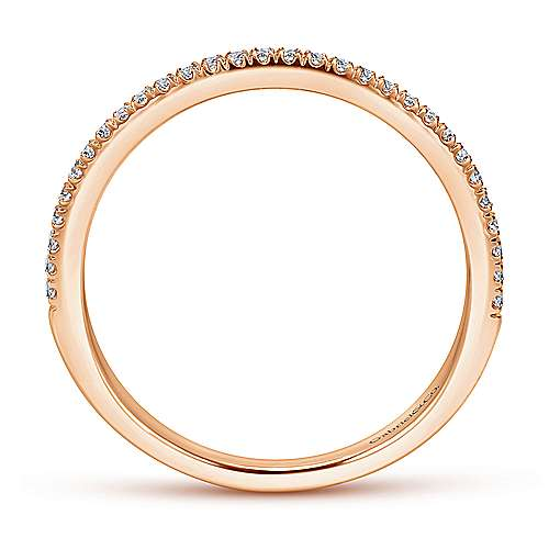 14k Pink Gold Contemporary Straight Wedding Band angle 2