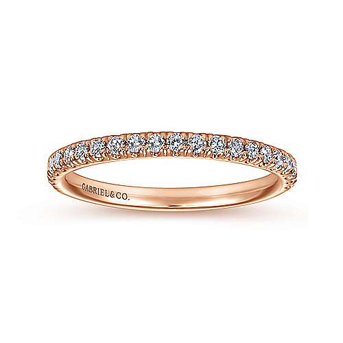 14k Pink Gold Contemporary Straight Wedding Band angle 5