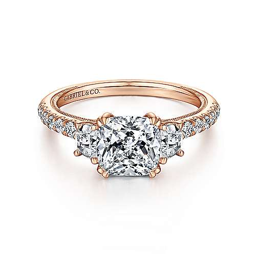 Gabriel - 14k Pink Gold Cushion Cut 3 Stones Engagement Ring