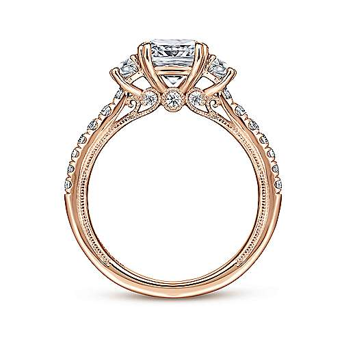14k Pink Gold Cushion Cut 3 Stones Engagement Ring angle 2