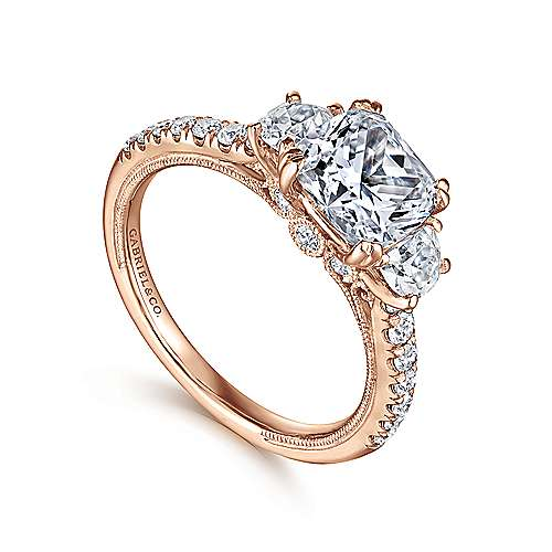 14k Pink Gold Cushion Cut 3 Stones Engagement Ring angle 3