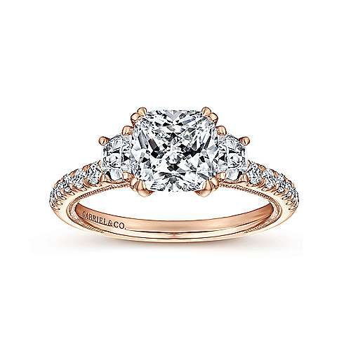 14k Pink Gold Cushion Cut 3 Stones Engagement Ring angle 5