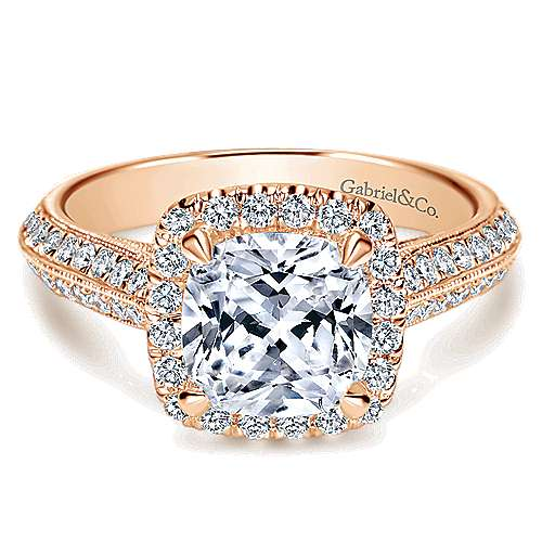 Gabriel - 14k Pink Gold Cushion Cut Halo Engagement Ring