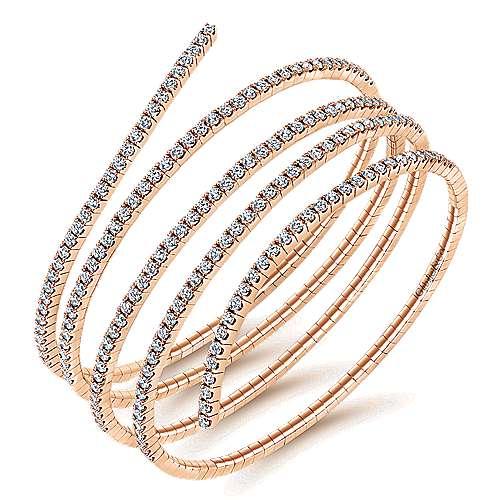 14k Pink Gold Demure Bangle angle 2