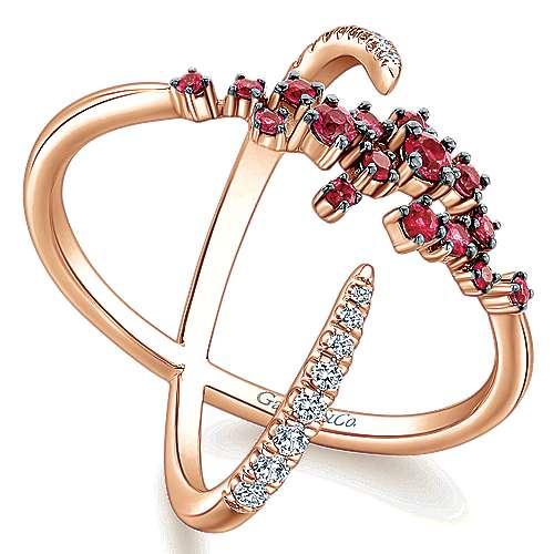 14k Pink Gold Diamond  And Ruby Fashion Ladies