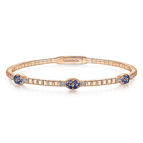 14k Pink Gold Diamond  And Sapphire Bangle angle 1