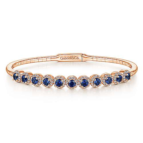 14k Pink Gold Diamond  And Sapphire