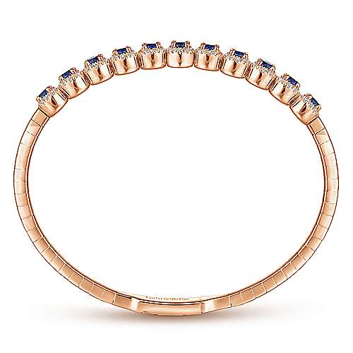 14k Pink Gold Diamond  And Sapphire Bangle angle 3