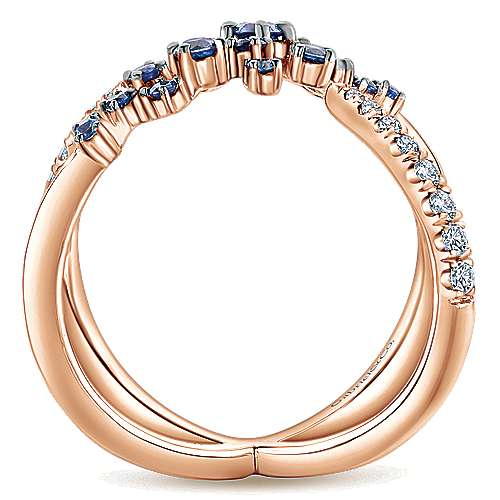 14k Pink Gold Diamond  And Sapphire Fashion Ladies