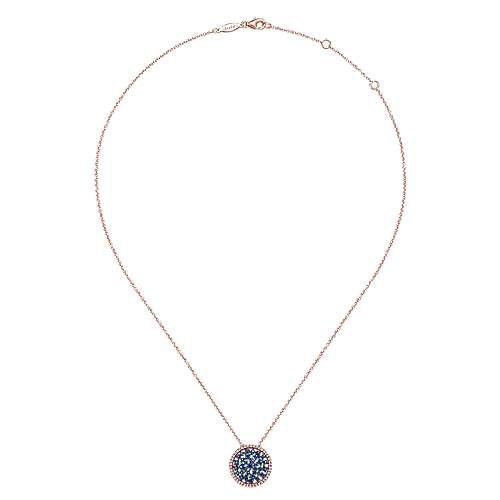 14k Pink Gold Diamond  And Sapphire Fashion Necklace angle 2