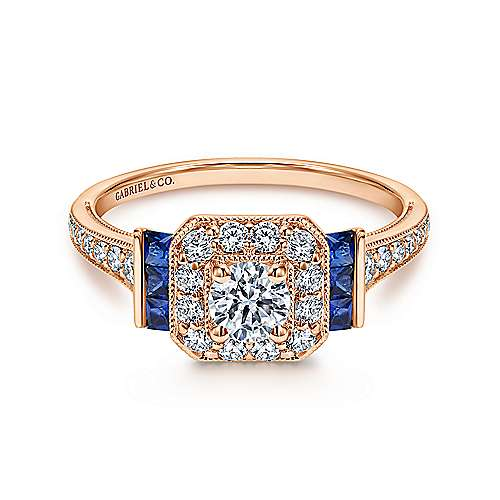 14k Pink Gold Diamond  And Sapphire Halo