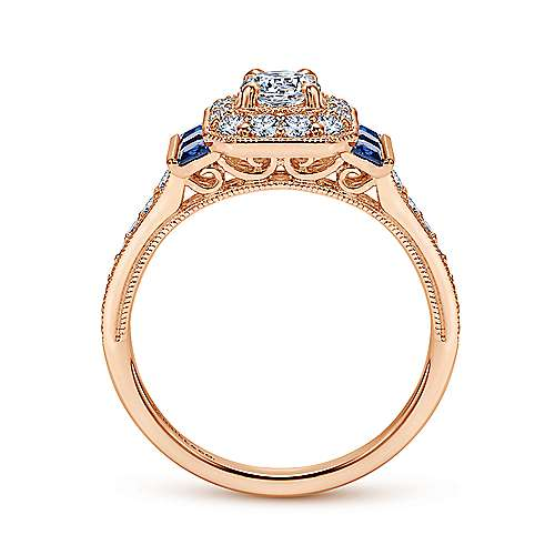 14k Pink Gold Diamond  And Sapphire Halo Engagement Ring angle 2