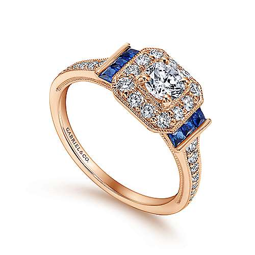 14k Pink Gold Diamond  And Sapphire Halo Engagement Ring angle 3