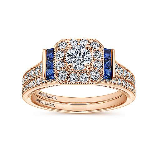 14k Pink Gold Diamond  And Sapphire Halo Engagement Ring angle 4