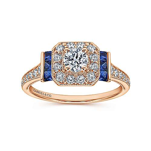 14k Pink Gold Diamond  And Sapphire Halo Engagement Ring angle 5