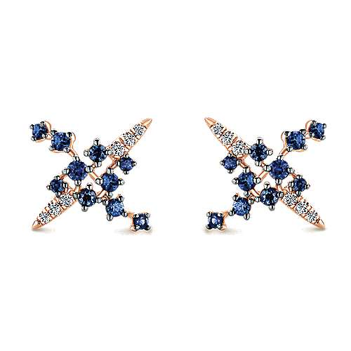 14k Pink Gold Diamond  And Sapphire Stud Earrings angle 1