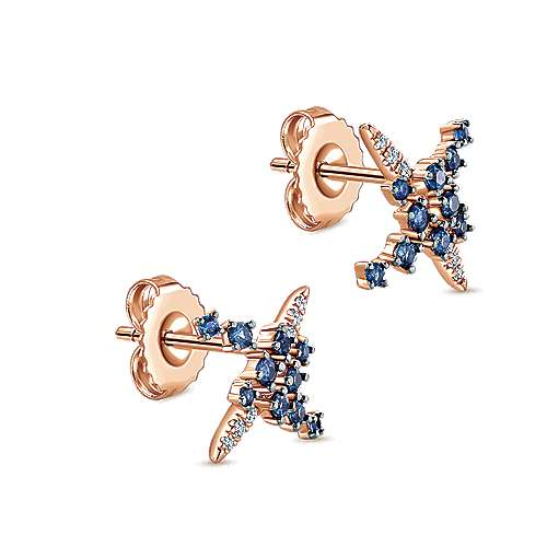 14k Pink Gold Diamond  And Sapphire Stud Earrings angle 2