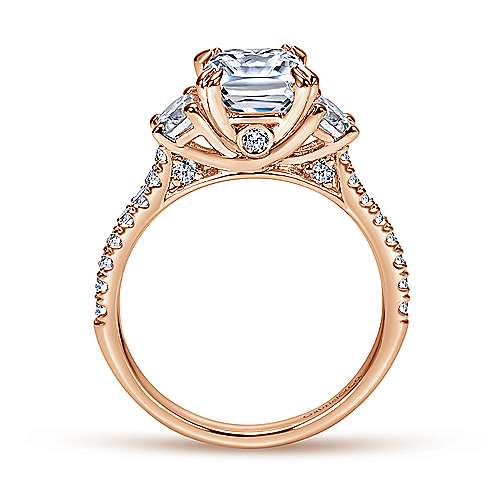 14k Pink Gold Diamond 3 Stones Engagement Ring angle 2