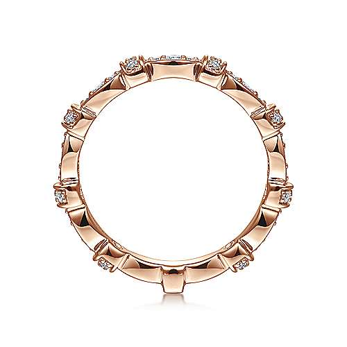 14k Pink Gold Diamond Alternating Pavé Ladies Ring angle 2