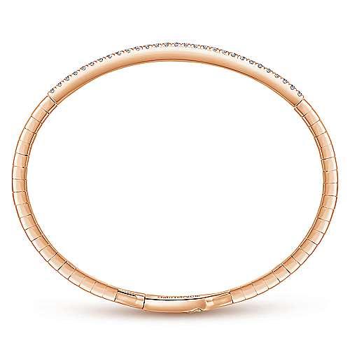 14k Pink Gold Diamond Bangle angle 3