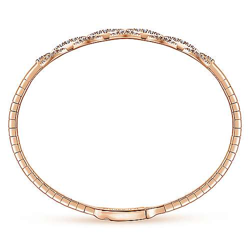 14k Pink Gold Diamond Bangle angle 3