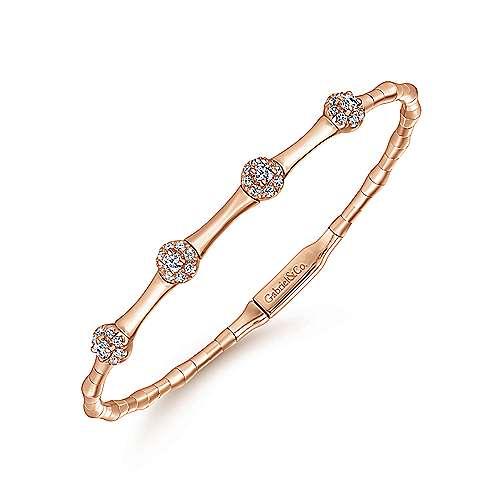 14k Pink Gold Diamond Bangle angle 2