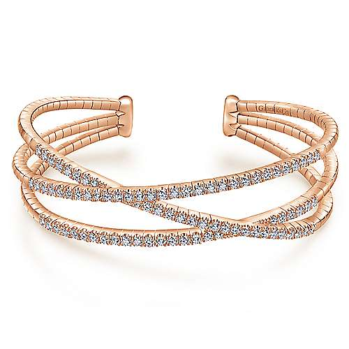 14k Pink Gold Diamond Bangle angle 1