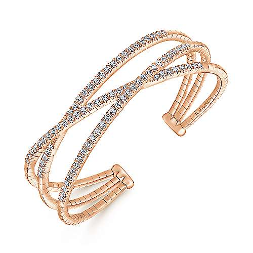 14k Pink Gold Diamond Bangle angle 2