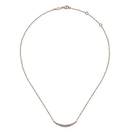 14k Pink Gold Diamond Bar Necklace angle 2