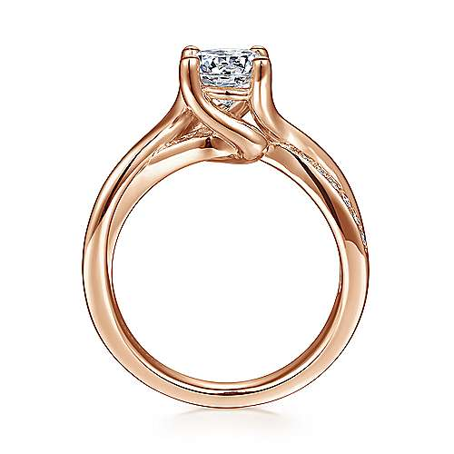 14k Pink Gold Diamond Bypass Engagement Ring angle 2