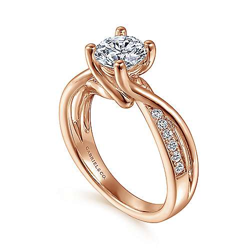 14k Pink Gold Diamond Bypass Engagement Ring angle 3