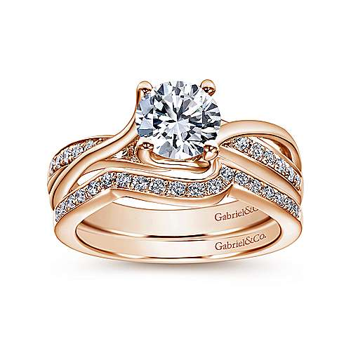 14k Pink Gold Diamond Bypass Engagement Ring angle 4