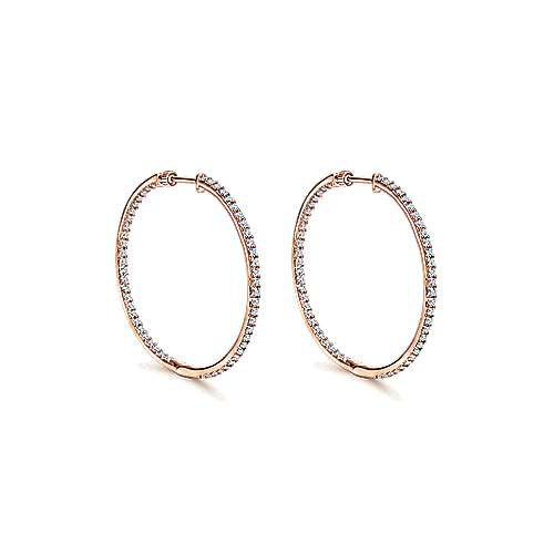 14k Pink Gold Diamond Classic Hoop