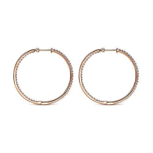 14k Pink Gold Diamond Classic Hoop Earrings angle 2