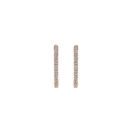 14k Pink Gold Diamond Classic Hoop Earrings angle 3