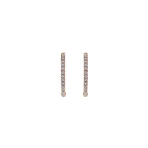 14k Pink Gold Diamond Classic Hoop Earrings angle 3