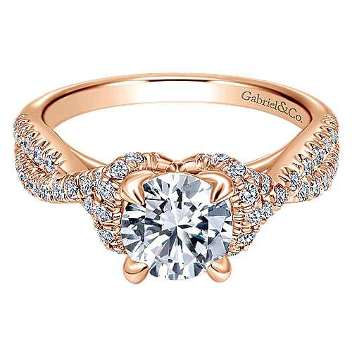 14k Pink Gold Diamond Criss Cross