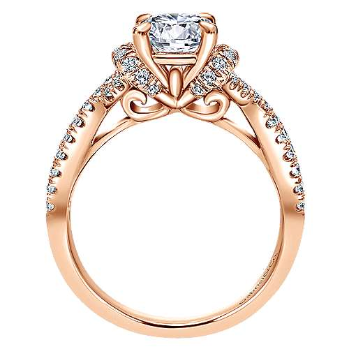 14k Pink Gold Diamond Criss Cross Engagement Ring angle 2