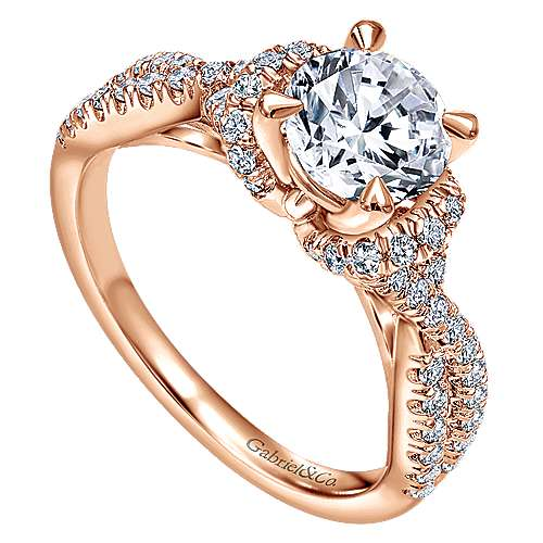 14k Pink Gold Diamond Criss Cross Engagement Ring angle 3