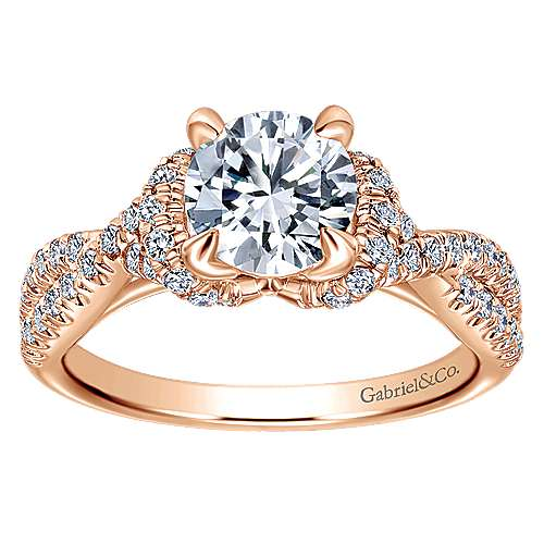 14k Pink Gold Diamond Criss Cross Engagement Ring angle 5