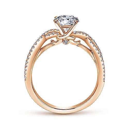 14k Pink Gold Diamond Criss Cross Engagement Ring angle 2