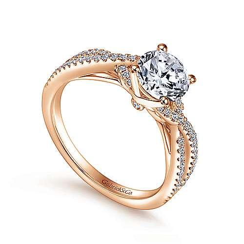 14k Pink Gold Diamond Criss Cross Engagement Ring angle 3