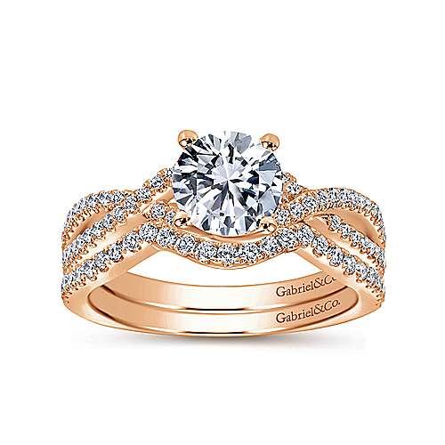 14k Pink Gold Diamond Criss Cross Engagement Ring angle 4