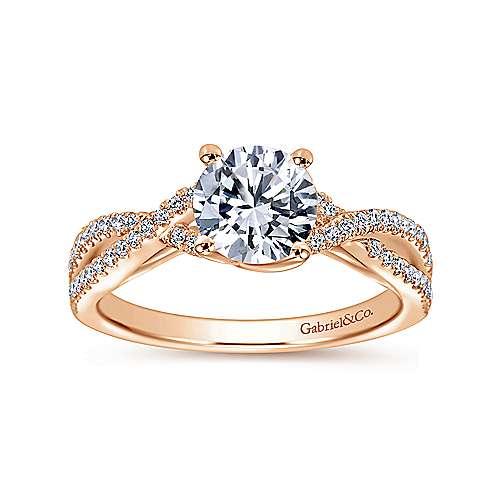 14k Pink Gold Diamond Criss Cross Engagement Ring angle 5