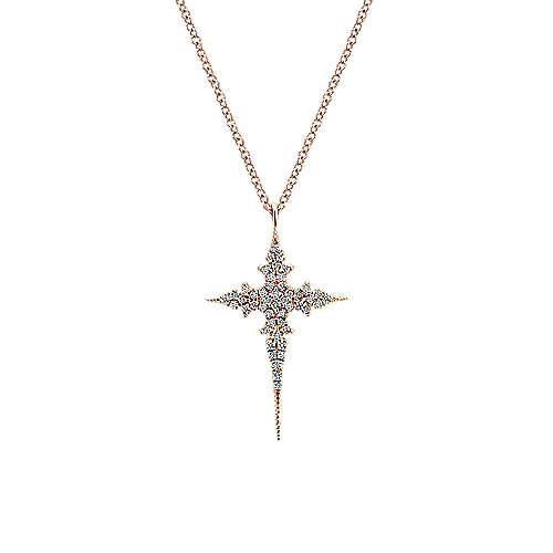 Gabriel - 14k Pink Gold Faith Cross Necklace