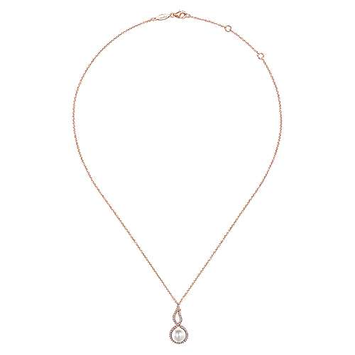 14k Pink Gold Diamond Cultured Pearl Fashion Necklace angle 2